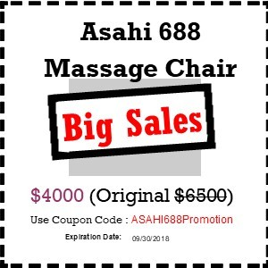 ASAHI 688  Massage Chair Zero Wall SL Track (On sales with coupon)